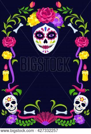 Day Of The Dead Decorative Frame. Dia De Los Muertos. Mexican Celebration.