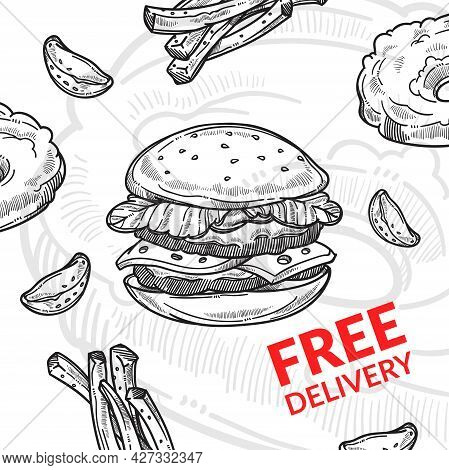 Free Delivery Of Fast Food, Street Meal Cuisine