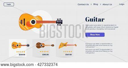 Music Shop Online, Buying Guitar On Website Vector