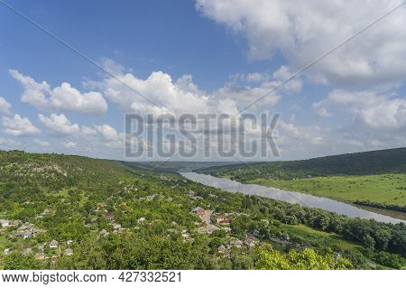 Beautiful View Of The Village Of Stroentsy And The Dniester River, Transnistria, Moldova. Stroentsy
