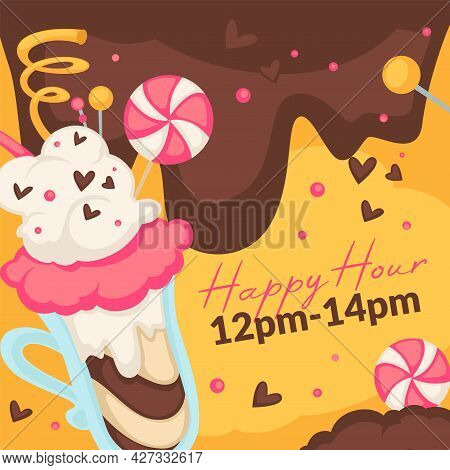 Happy Hour In Ice Cream Cafe, Gelato With Lollipop