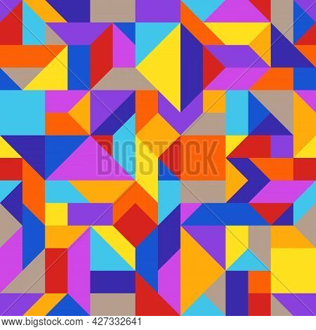 Bright Abstract Geometric Seamless Pattern Of Blue, Brown, Orange, Red, Violet, Yellow Angular Shape
