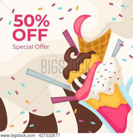 Ice Cream 50 Percent Off, Special Offer On Dessert