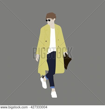 Vector Illustration Of Kpop Street Fashion. Street Idols Of Koreans. Fashion For Male Idols Kpop. A