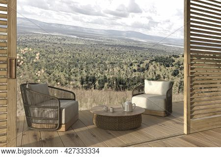 Modern Interior Design Outdoor Terrace With Furniture. Wooden Sliding Patio Doors. Cozy Home 3d Rend