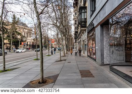 Madrid, Spain - March 7, 2021: Scenic View Of Serrano Street With Fashion Retail Storefronts. Salama