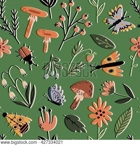 Forest Flora And Insects Retro Seamless Pattern. Wild Flowers, Leaves, Plants, Mushrooms, Berries, B