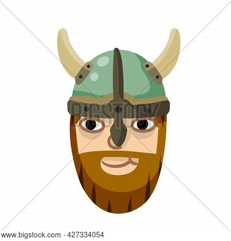 Viking. Cute Face Of A Warrior. Funny Children Scandinavian Character. Soldier In Horned Helmet. Med