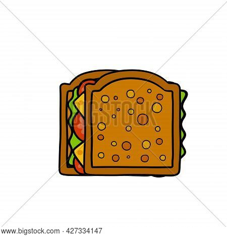 Sandwich. Bread With Cheese, Tomato And Lettuce. Food Icon. Cartoon Illustration