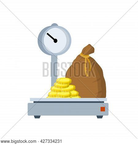 Bag Of Gold On Scale. Weighing Wealth And Money. Coins In A Canvas Sack. Concept Of Income And Banki