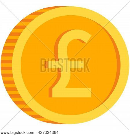 Pound Coin Icon Vector British Money Sign Gold Currency
