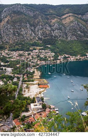 Unrealistically Beautiful View Of The Bay Of Kotor On A Beautiful Summer Day In Montenegro. Very Bea