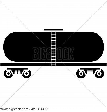 Oil Tanker, Car Cistern Petrol Gas Fuel Silhouette Vector Icon