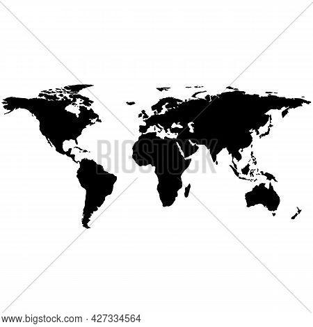 World Map Vector Earth Atlas Silhouette Abstract Icon