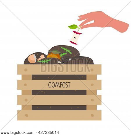 Human Hand Puts Core Apple In Box With Compost. Wooden Box With Fruits, Vegetable Scraps, Greens In