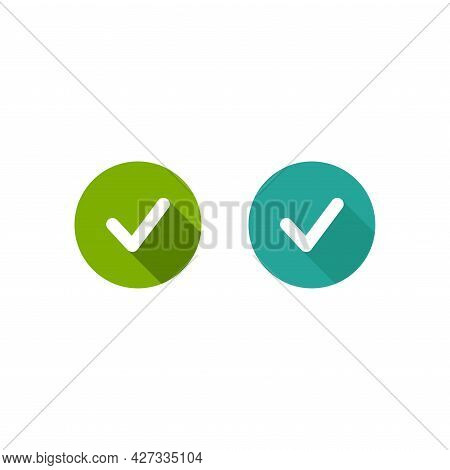 Check Mark Set. Valid Seal Icon. White Rounded Tick With Shadow In Green Circle. Flat Ok Sticker Ico