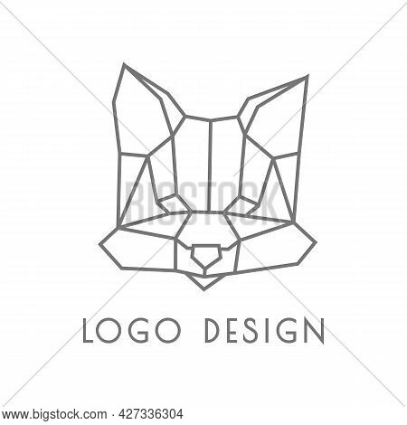 Cool Black And White Geometrical Logo With Muzzle Of Fox. Polygonal Graphics And Origami Style. Styl