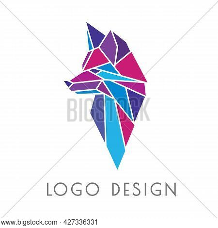 Cool Modern Polygonal Logo In The Shape Of A Fox Head. Geometric Emblem, Label, Sign In Origami Styl