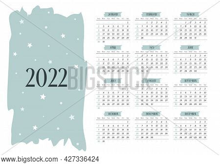 2022 Calendar Template With Stars And Dots. 12 Months Yearly Calendar Set In 2022. Week Starts On Su