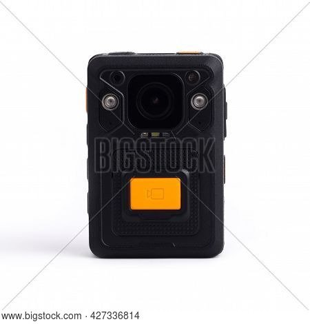 Black Officer Body Cam With Yellow Orange Button Record. Personal Wearable Video Recorder, Portable