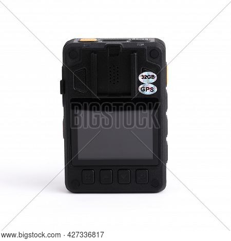 Back View Of Black Officer Body Cam With Viewing Screen. Personal Wearable Video Recorder, Portable