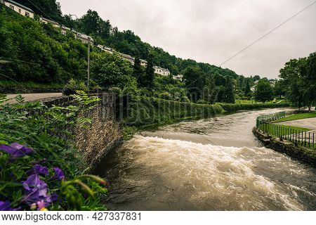 The Ourthe River In Houffalize, Province Of Luxemburg, Belgian Ardennes