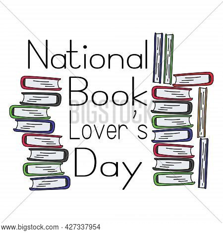 National Book Lovers Day, Book In Doodle Style, Idea For Banner Or Poster Vector Illustration