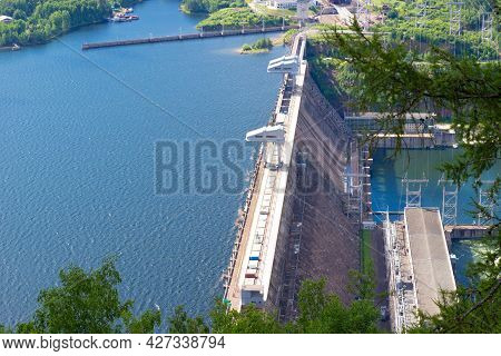 Aerial View In Krasnoyarsk Reservoir And Hydroelectric Power Station On The Yenisey River Near Krasn
