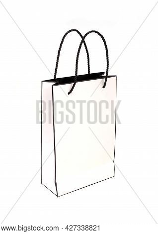 White Paper Bag Isolated On A White Background