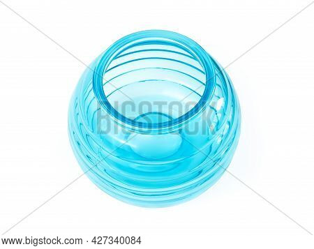Turquoise Blue Round Vase And Candlestick Isolated On White Background. Top View, Closeup.