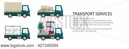 Green Small Trucks With Different Loads , Empty And Covered Trucks, Lorries With Furniture And Windo