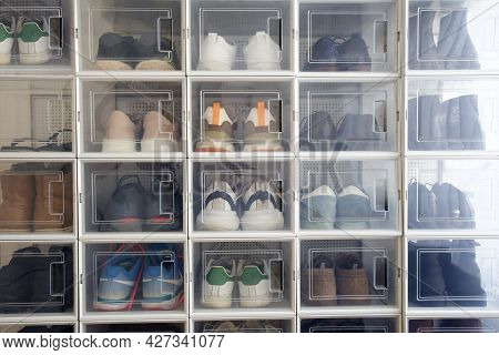 Collection Of Different Sneakers Indoor Shoe Rack Of Sneakers Lovers, Perfect Stylish Storage Place,