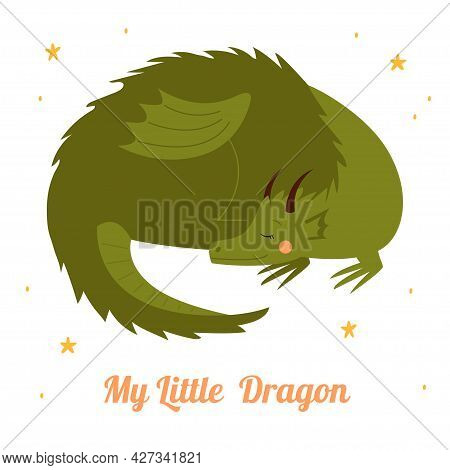 Cute Green Dragon. Character From A Fairy Tale Isolated On A White Background. Print For T-shirt. Ve