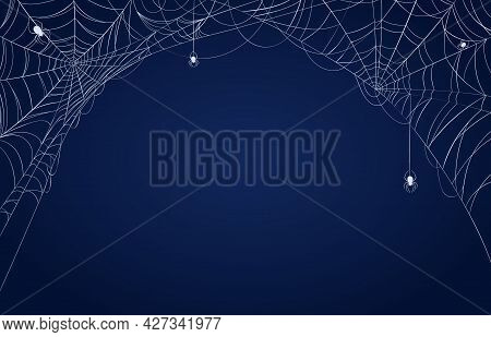 Spider Web Banner. Halloween Spooky Decorated Background With Cobwebs In Corners And Hanging Spiders