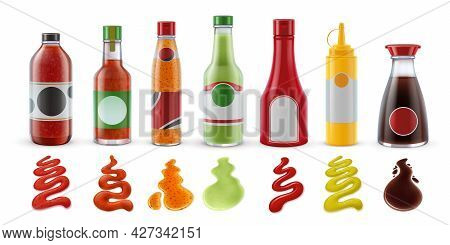 Realistic Sauces In Bottles. Hot Chili, Tomato Ketchup, Guacamole, Mustard And Soy Sauce In Glass Pa