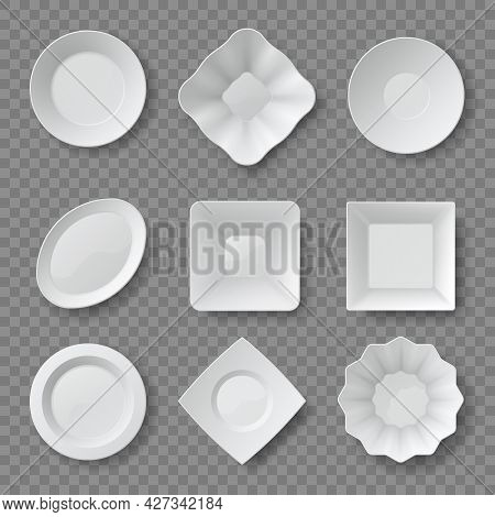 Realistic Food Plates. Empty White Round And Square Dishes And Bowls. Ceramic Plate Top View 3d Mock