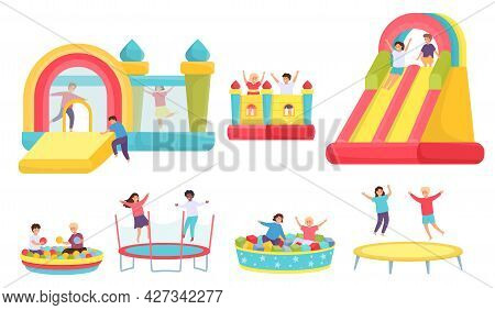 Children Jumping On Trampolines. Cartoon Boys And Girls In Bouncy Castle And Inflatable Trampoline.