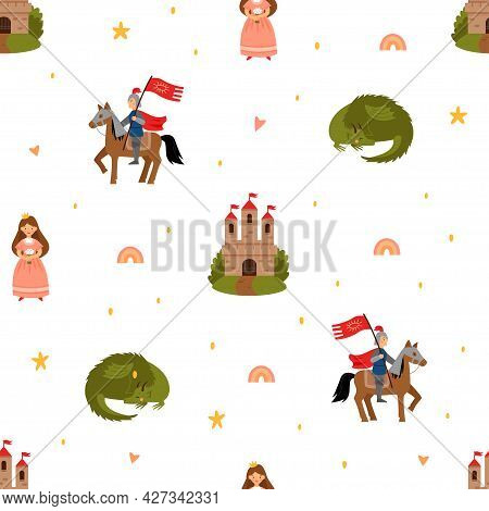 Seamless Vector Pattern With Fairy Tale Characters. Princess, Knight, Dragon And Castle Isolated On