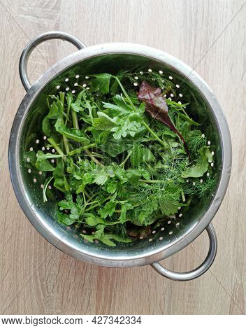 Freshly Washed Green Organic Spinach Leaves, Parsley, Dill, Beetroot Leaves