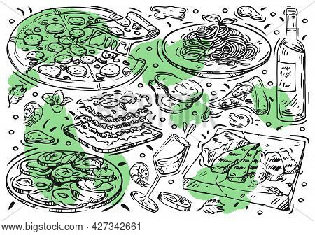 Hand Drawn Vector Line Illustration Food On White Board. Doodle Italian Cuisine: Pizza, Grill Meat,