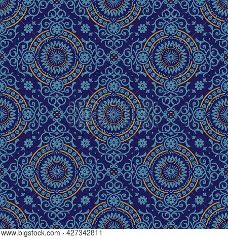 Santorini Medallion Diamond Tiles Vector Seamless Pattern