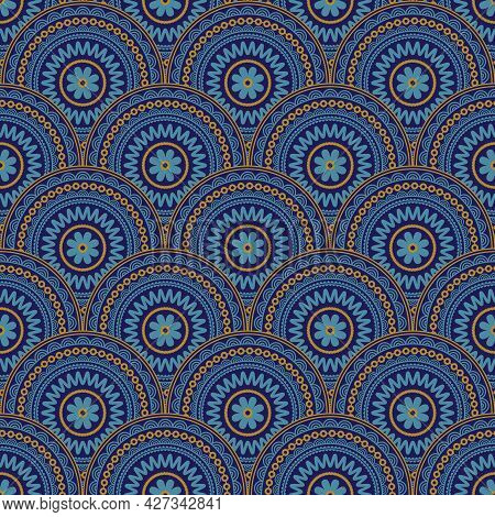 Overlapping Medallions Half Dropped Seamless Vector Pattern