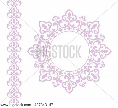 Decorative Frame Elegant Vector Element For Design In Eastern Style, Place For Text. Floral Pink And