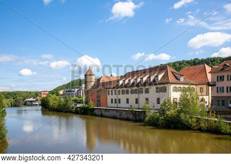 Old Tower And Historic, Medieval Half-timbered Houses In Historic Center Of Schw Bisch Hall On The K