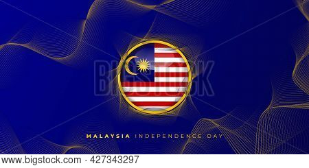 Malaysian Circle Flag Vector Illustration With Blue Abstract Background Design. Good Template For Ma