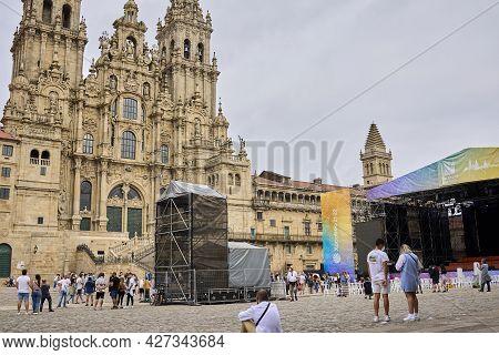Santiago De Compostela (spain), July 20, 2021. Cathedral Of Santiago. The City Prepares The Festival