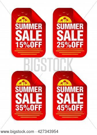 Summer Sale Red Sticker Set. Sale 15%, 25%, 35%, 45% Off. Stickers With Palms Icon. Vector Illustrat