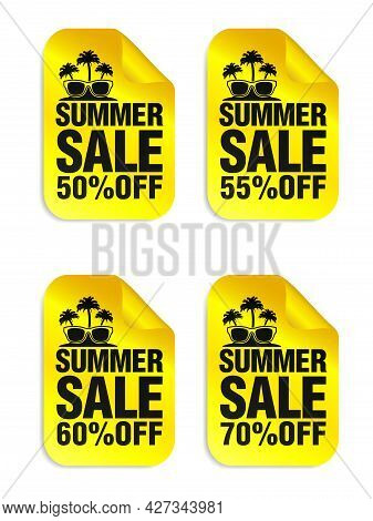 Summer Sale Yellow Stickers Set With Sunglasses And Palm Icon. Sale Stickers 50%, 55%, 60%, 70% Off.