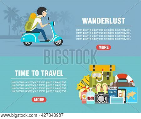 Summer Wanderlust Concept Design Flat Banners Set With Scooter Travel. Time To Travel. Travel Icon.