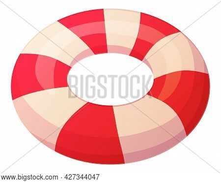 Bright Semi Realistic Lifebuoy. Ocean Rescue Icon Concept. Stock Vector Illustration Isolated On Whi